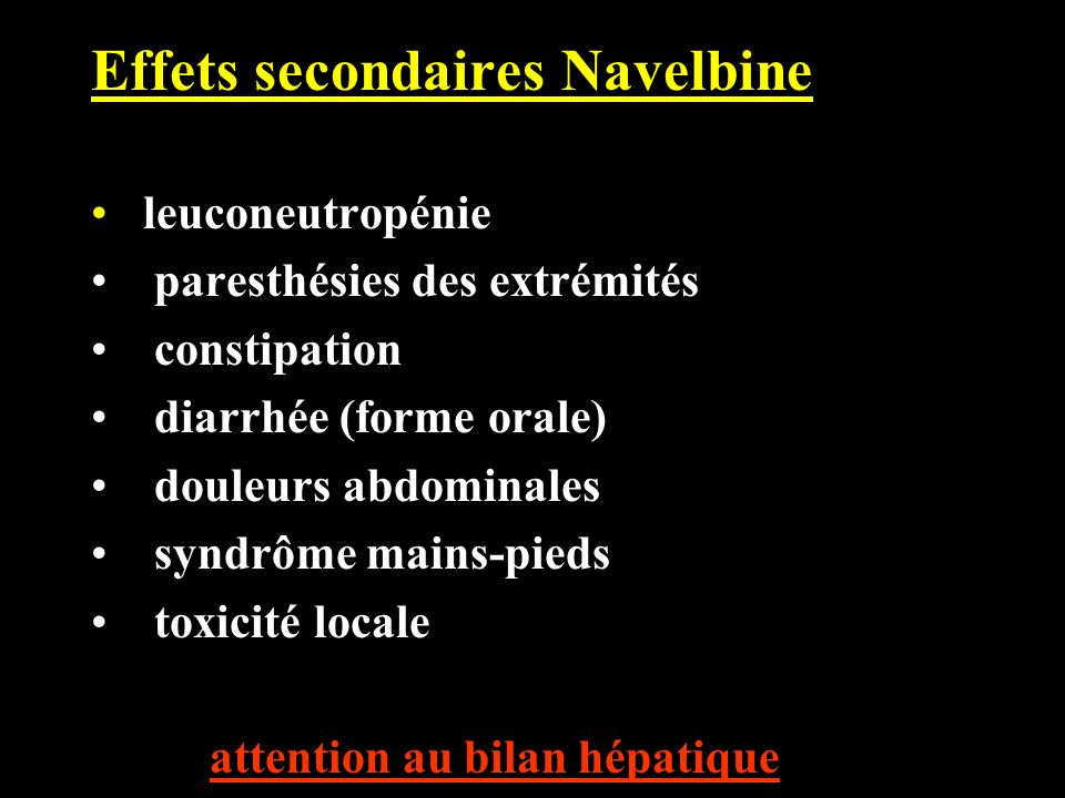 Effets secondaires Navelbine