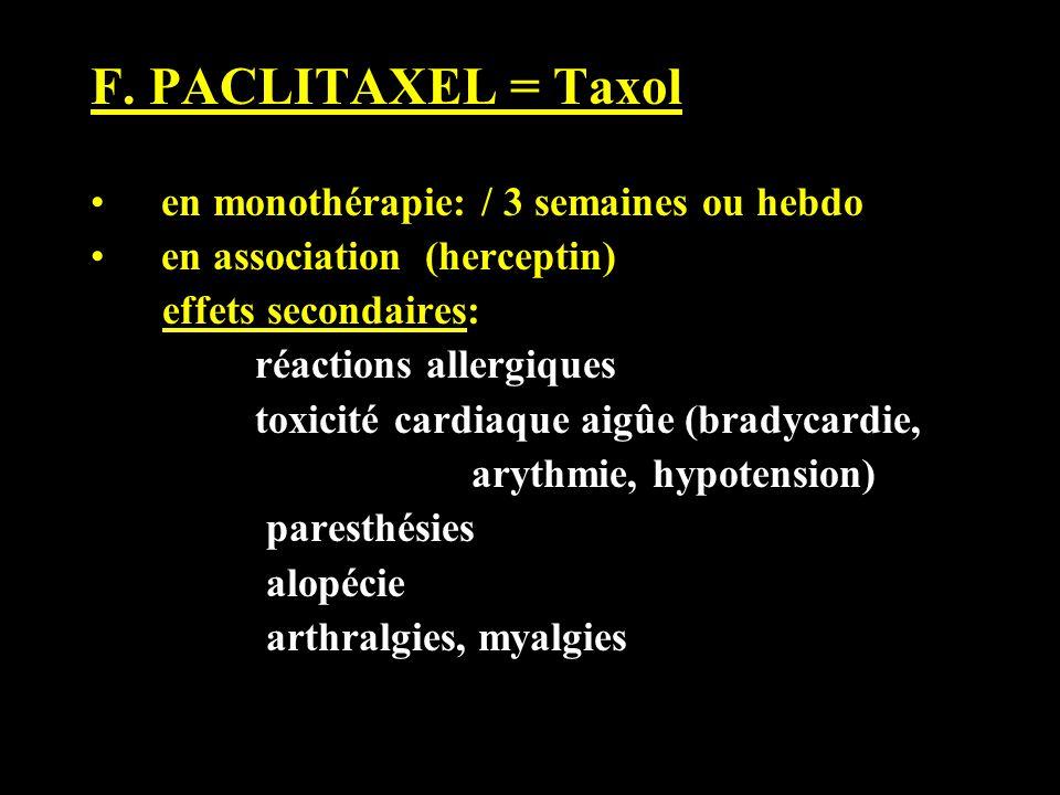 F. PACLITAXEL = Taxol en monothérapie: / 3 semaines ou hebdo