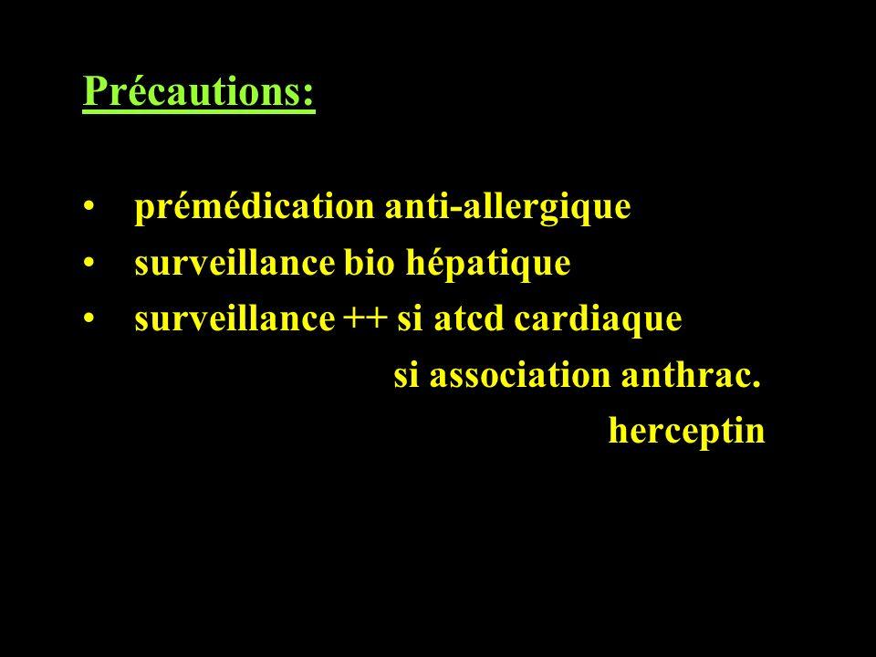 Précautions: prémédication anti-allergique surveillance bio hépatique