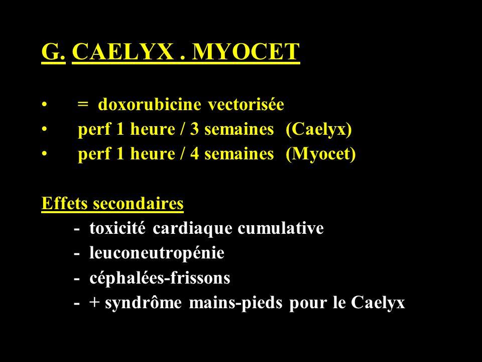 G. CAELYX . MYOCET = doxorubicine vectorisée