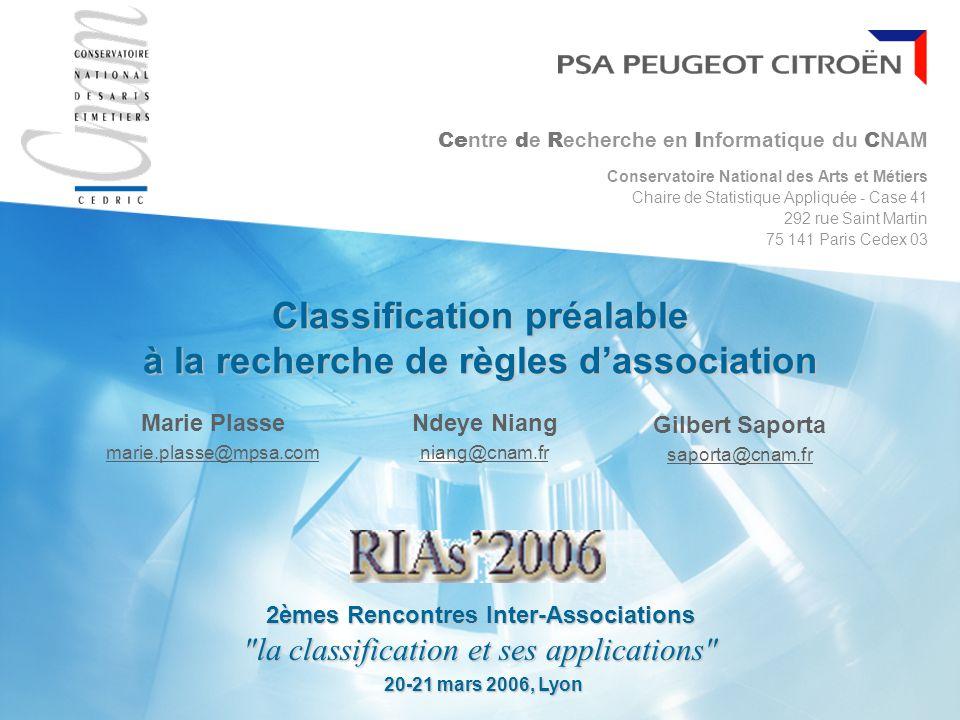Classification préalable à la recherche de règles d'association