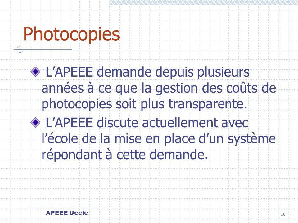 Photocopies L'APEEE demande depuis plusieurs années à ce que la gestion des coûts de photocopies soit plus transparente.