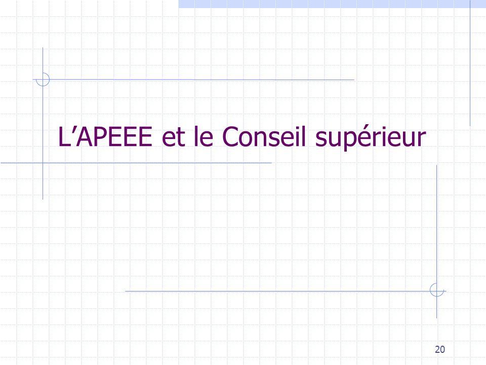 L'APEEE et le Conseil supérieur