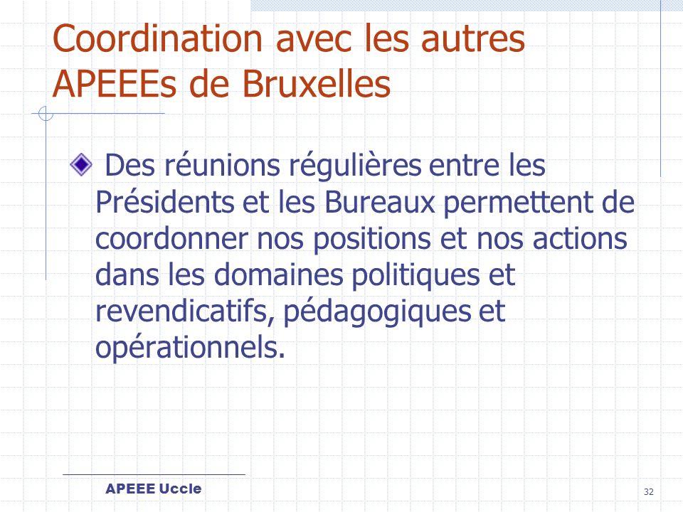 Coordination avec les autres APEEEs de Bruxelles