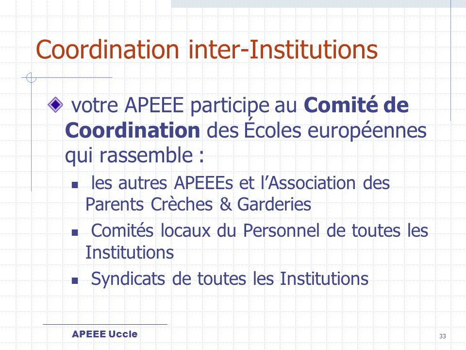 Coordination inter-Institutions