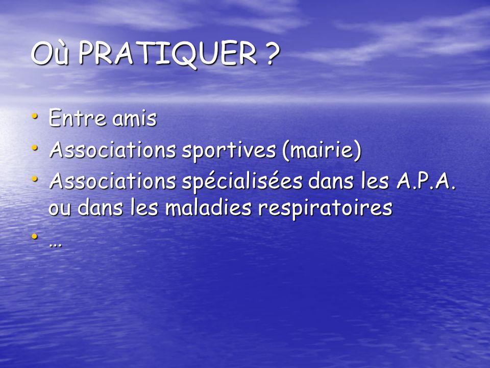 Où PRATIQUER Entre amis Associations sportives (mairie)