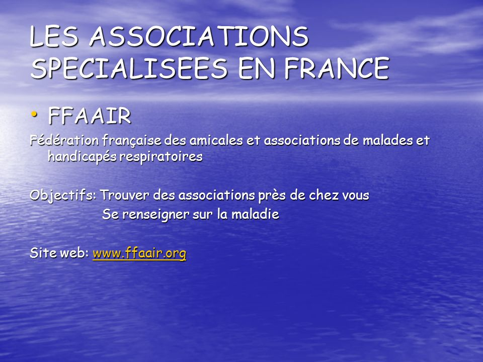 LES ASSOCIATIONS SPECIALISEES EN FRANCE
