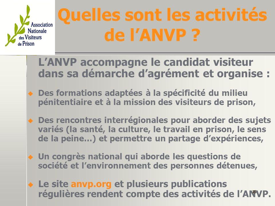 Quelles sont les activités de l'ANVP