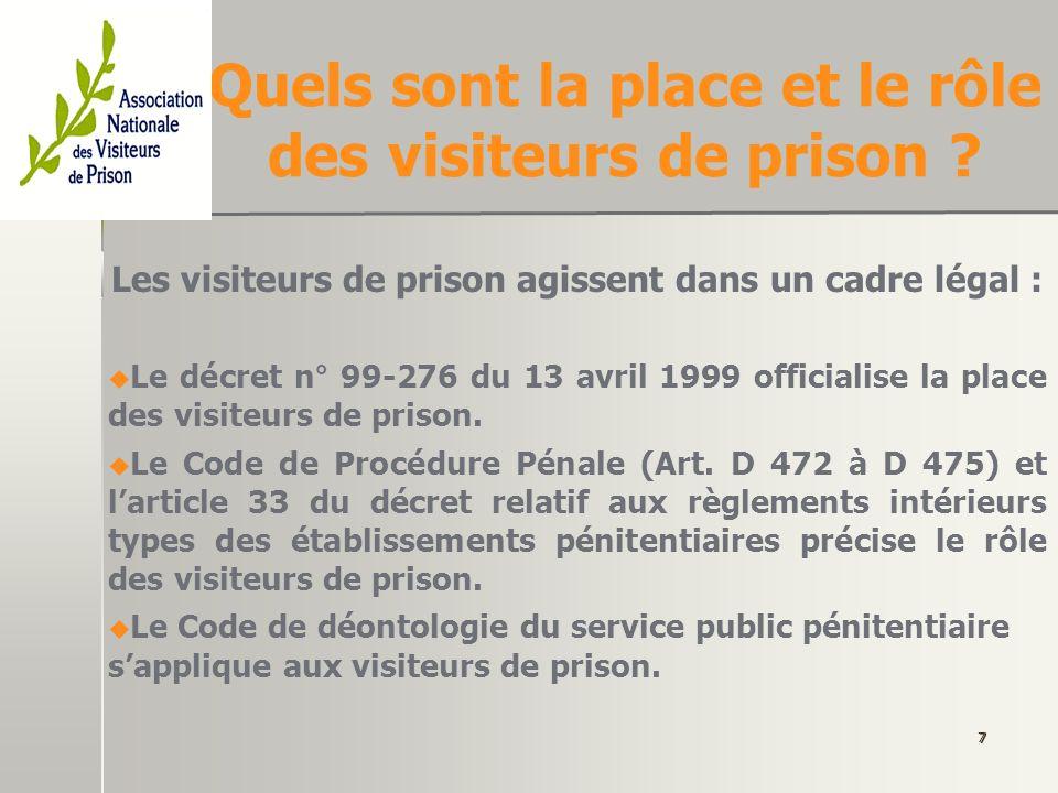 Quels sont la place et le rôle des visiteurs de prison