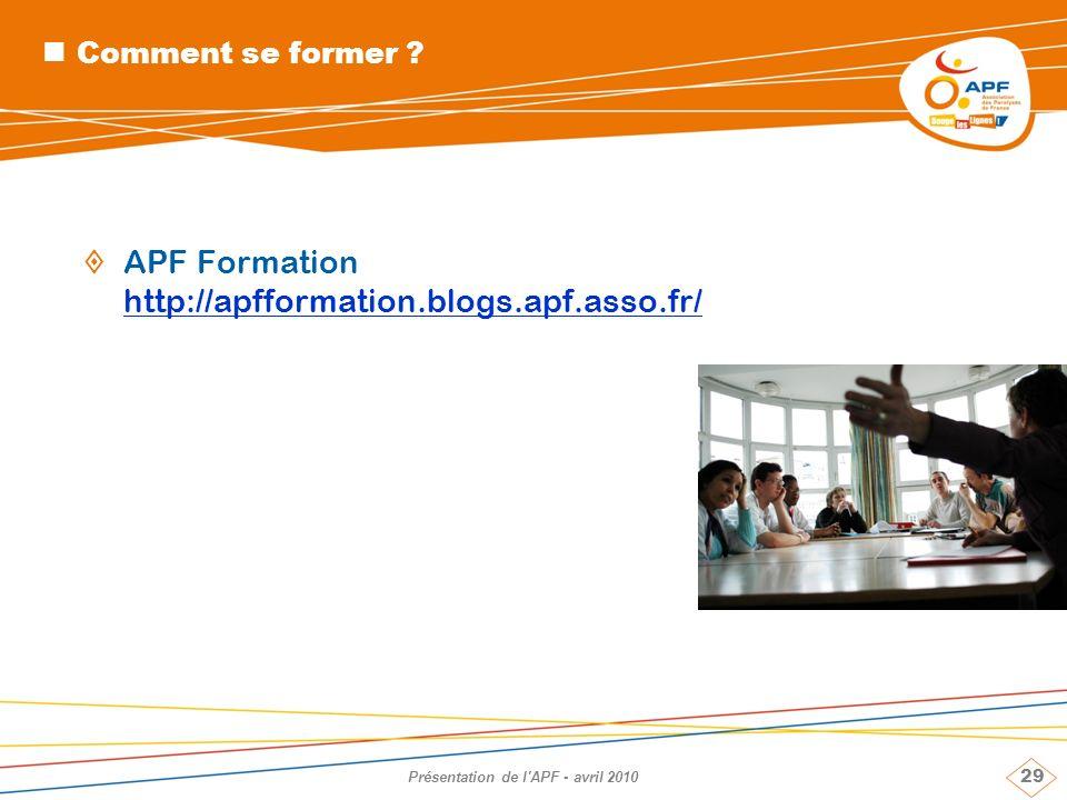Présentation de l APF - avril 2010