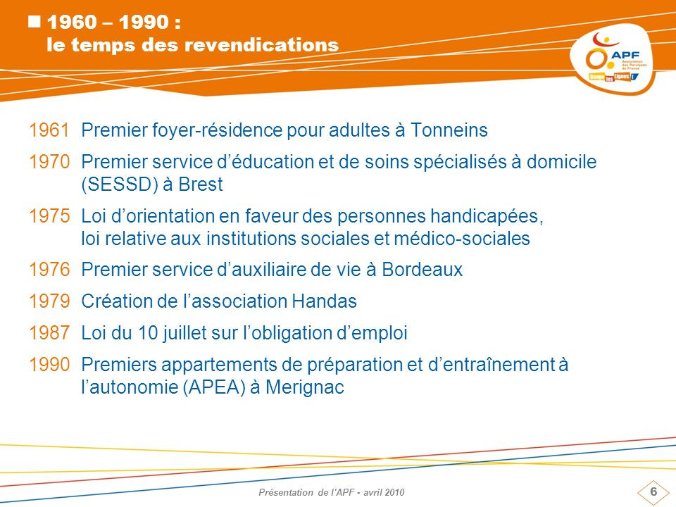 1960 – 1990 : le temps des revendications