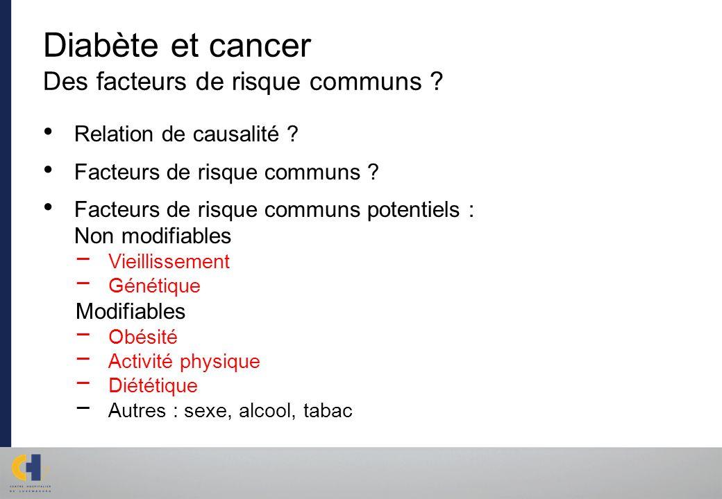 Diabète et cancer Des facteurs de risque communs