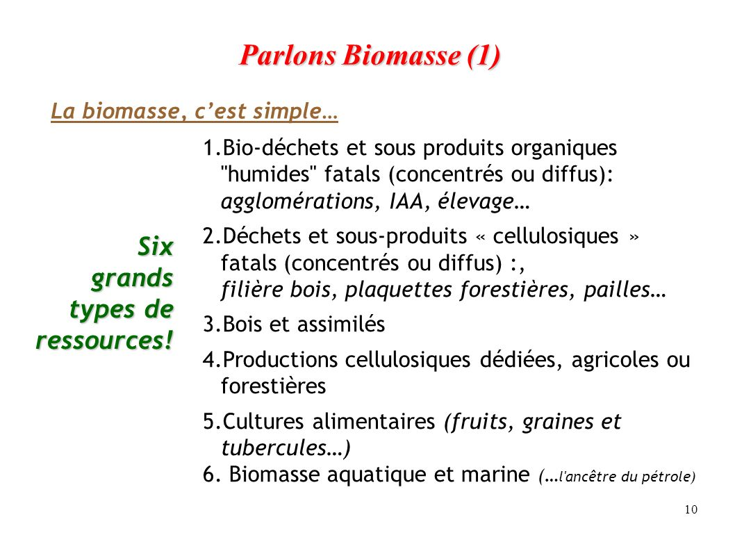 Parlons Biomasse (1) Six grands types de ressources!