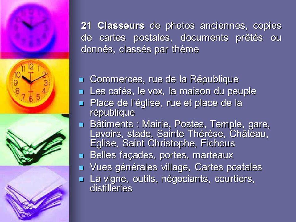 21 Classeurs de photos anciennes, copies de cartes postales, documents prêtés ou donnés, classés par thème