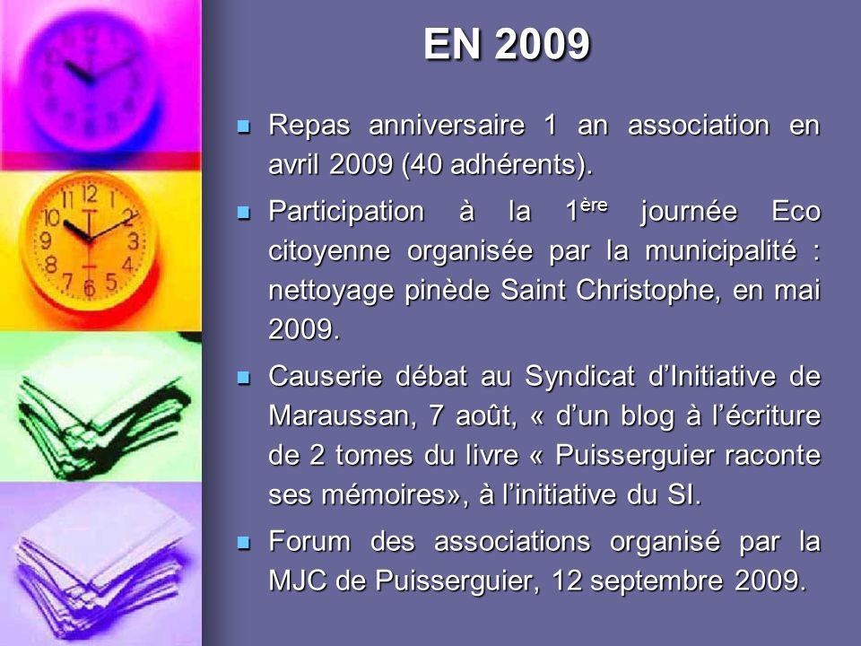 EN 2009 Repas anniversaire 1 an association en avril 2009 (40 adhérents).