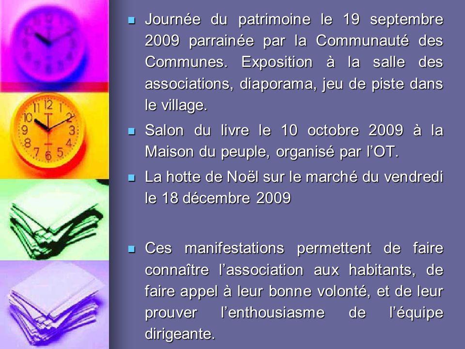 Journée du patrimoine le 19 septembre 2009 parrainée par la Communauté des Communes. Exposition à la salle des associations, diaporama, jeu de piste dans le village.