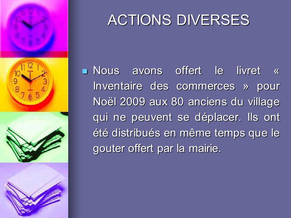 ACTIONS DIVERSES