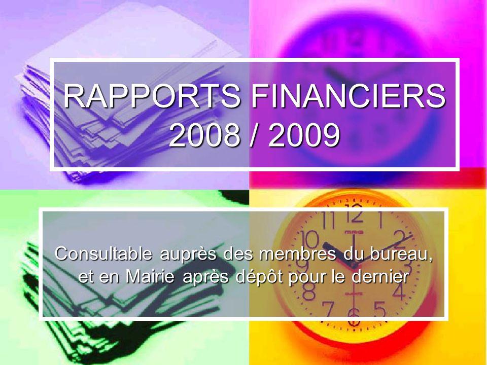 RAPPORTS FINANCIERS 2008 / 2009 Consultable auprès des membres du bureau, et en Mairie après dépôt pour le dernier.