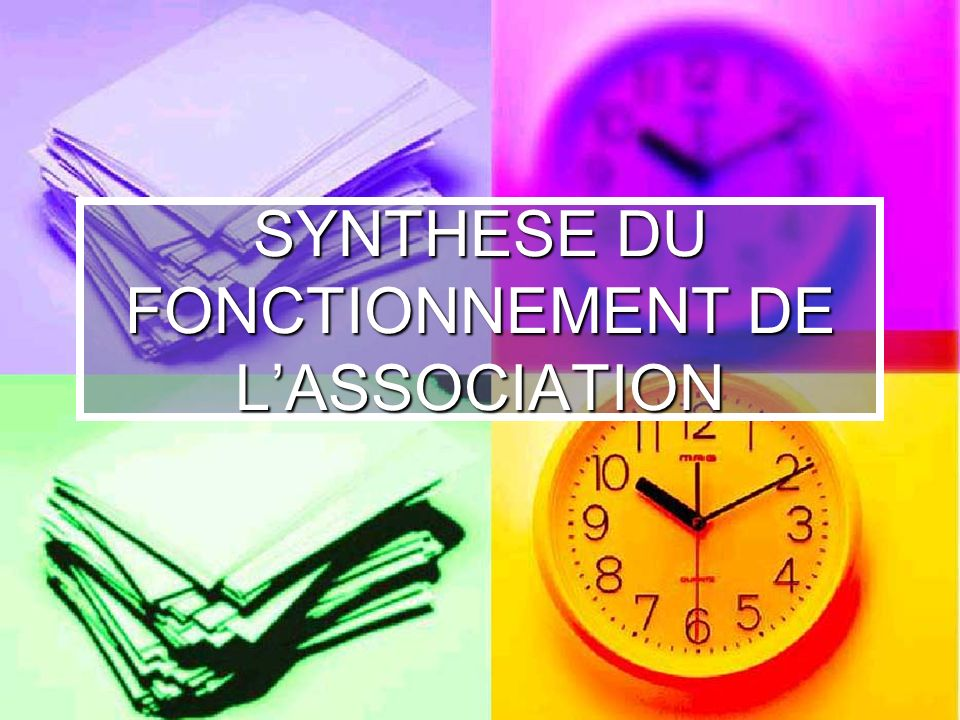 SYNTHESE DU FONCTIONNEMENT DE L'ASSOCIATION