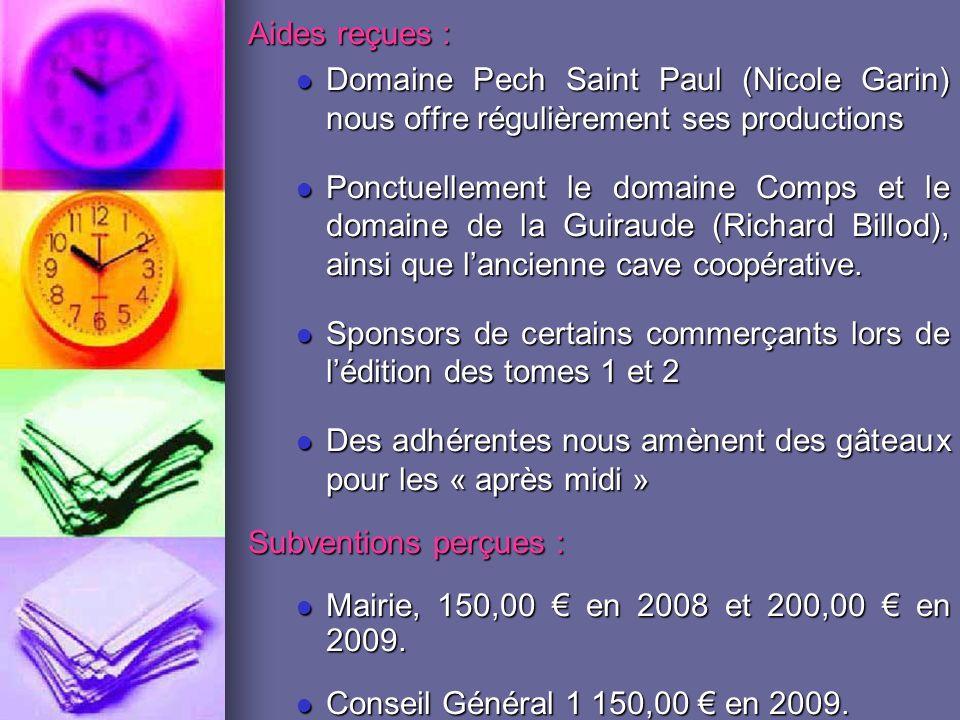 Aides reçues : Domaine Pech Saint Paul (Nicole Garin) nous offre régulièrement ses productions.