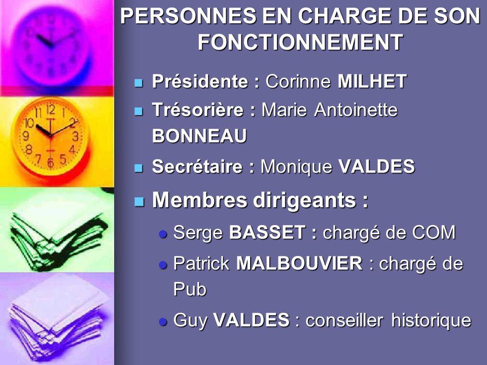 PERSONNES EN CHARGE DE SON FONCTIONNEMENT
