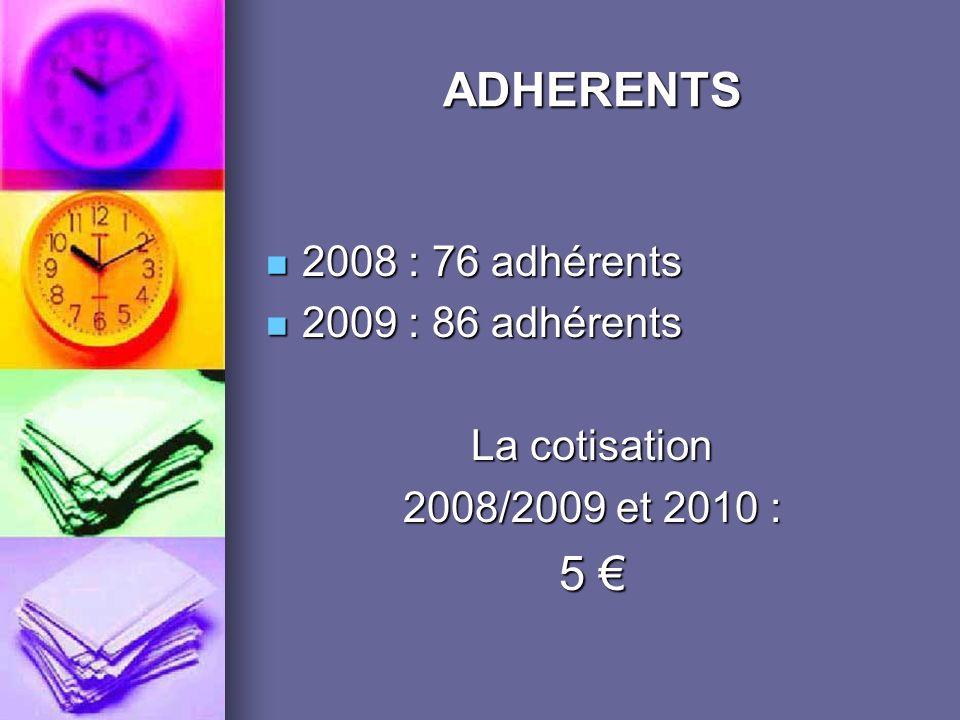 ADHERENTS 5 € 2008 : 76 adhérents 2009 : 86 adhérents La cotisation