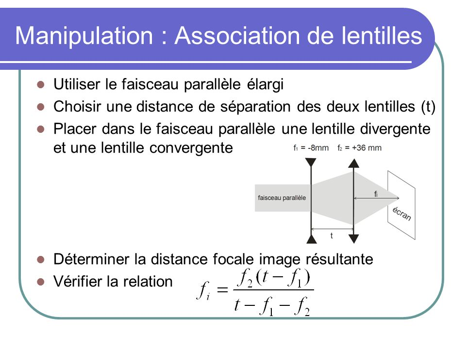 Manipulation : Association de lentilles