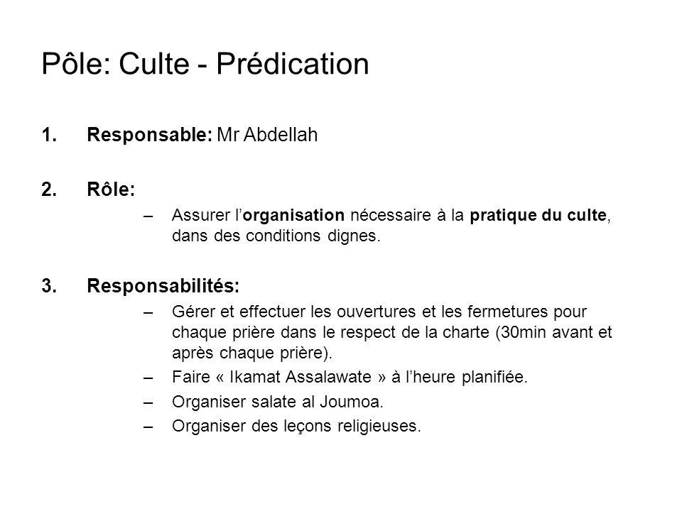 Pôle: Culte - Prédication