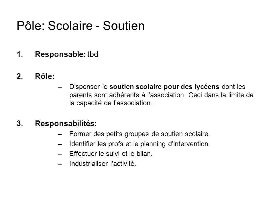 Pôle: Scolaire - Soutien
