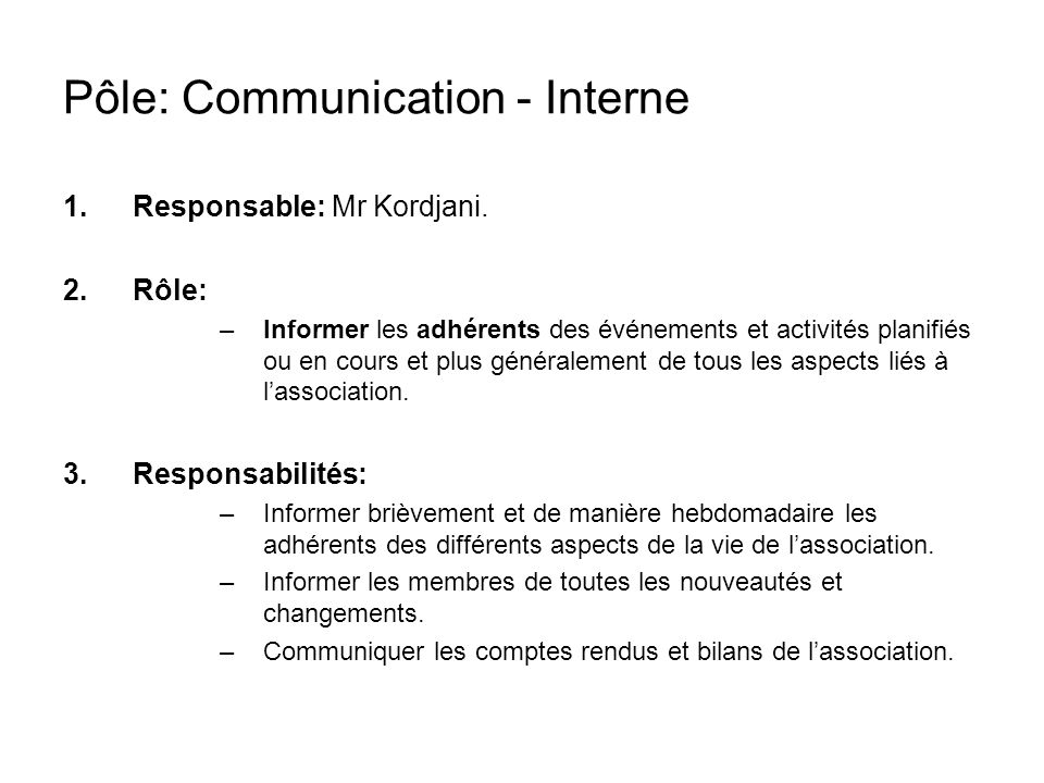 Pôle: Communication - Interne