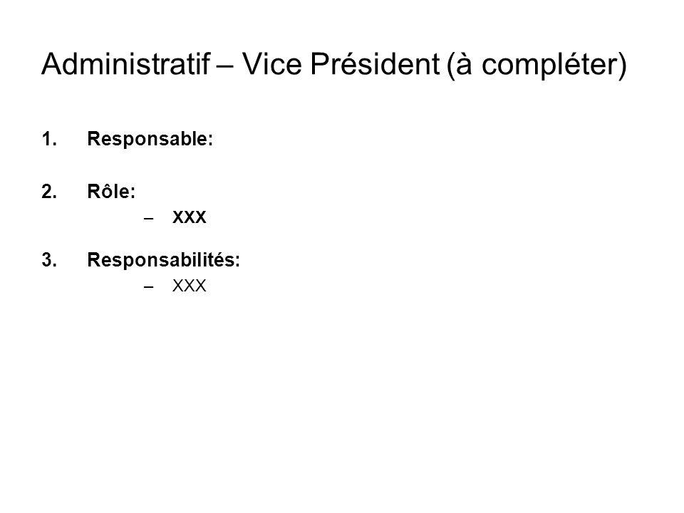 Administratif – Vice Président (à compléter)