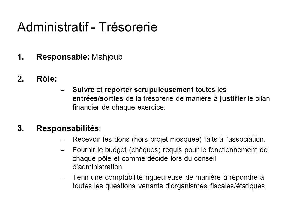 Administratif - Trésorerie