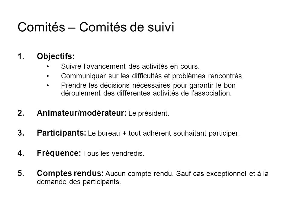 Comités – Comités de suivi