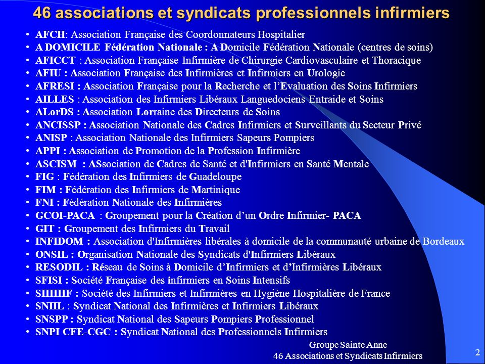 46 associations et syndicats professionnels infirmiers