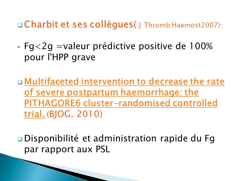 Charbit et ses collègues( J Thromb Haemost2007):