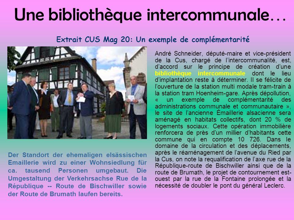 Une bibliothèque intercommunale… Extrait CUS Mag 20: Un exemple de complémentarité