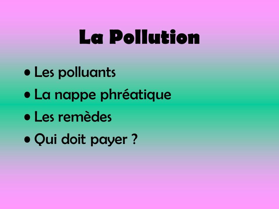 La Pollution Les polluants La nappe phréatique Les remèdes