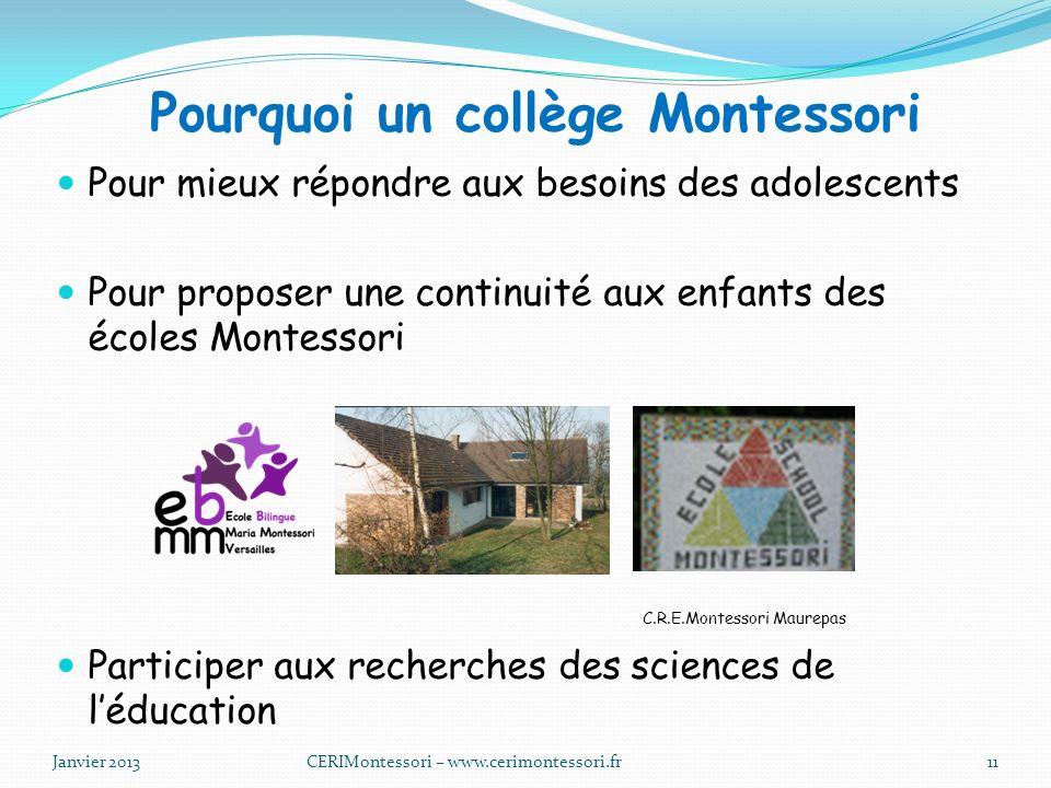 Pourquoi un collège Montessori