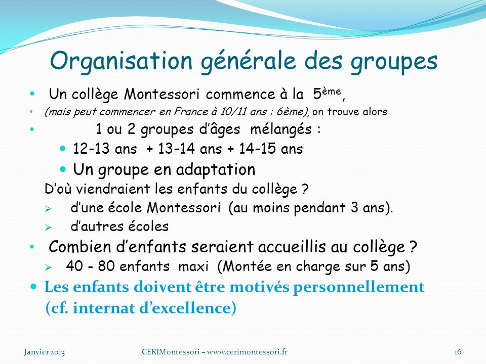 Organisation générale des groupes
