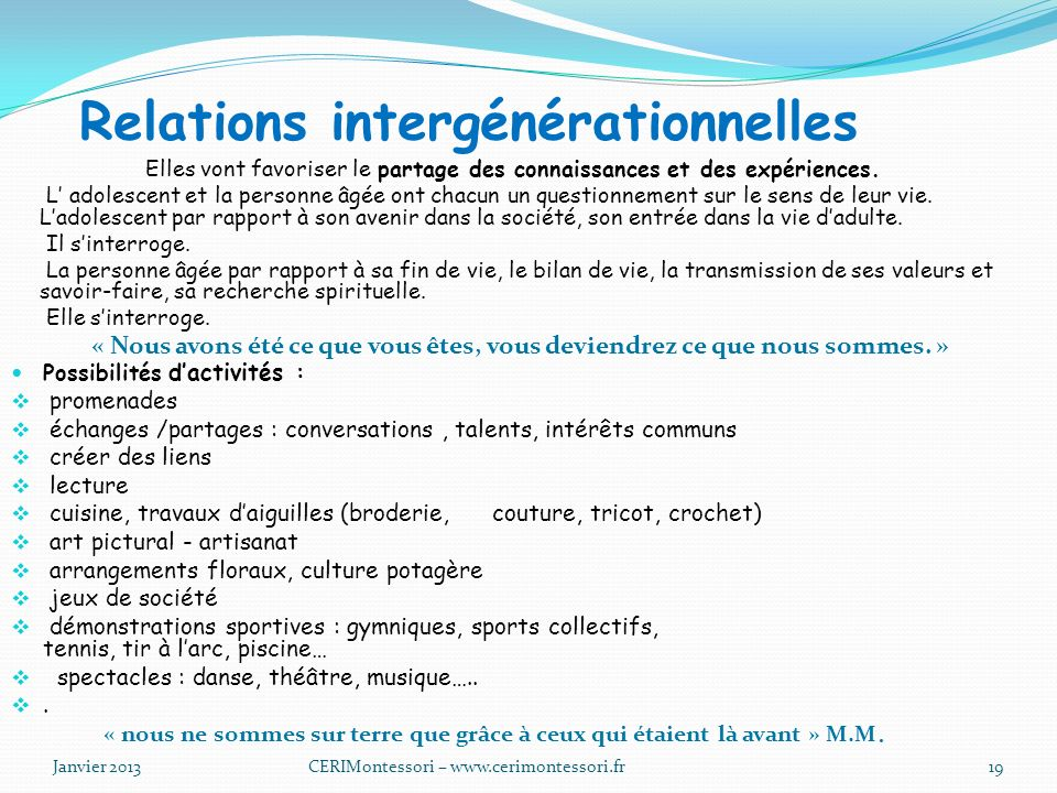 Relations intergénérationnelles