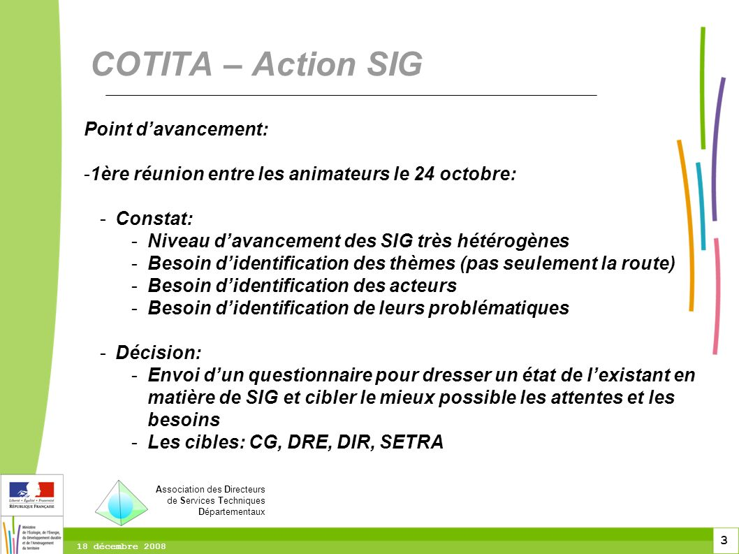 COTITA – Action SIG Point d'avancement: