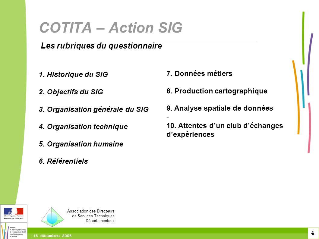 COTITA – Action SIG Les rubriques du questionnaire