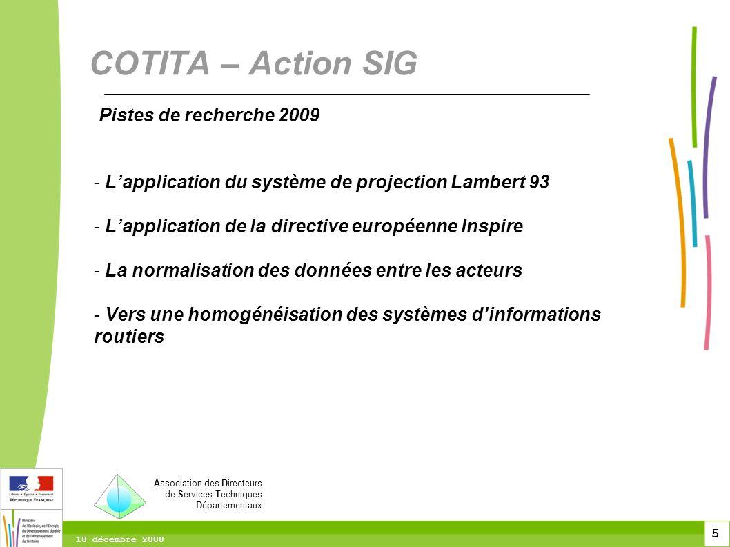 COTITA – Action SIG Pistes de recherche 2009