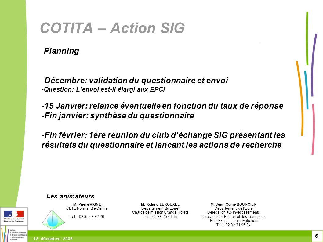 COTITA – Action SIG Planning