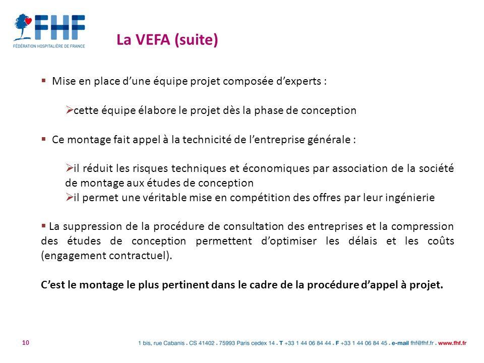 La VEFA (suite) Mise en place d'une équipe projet composée d'experts :