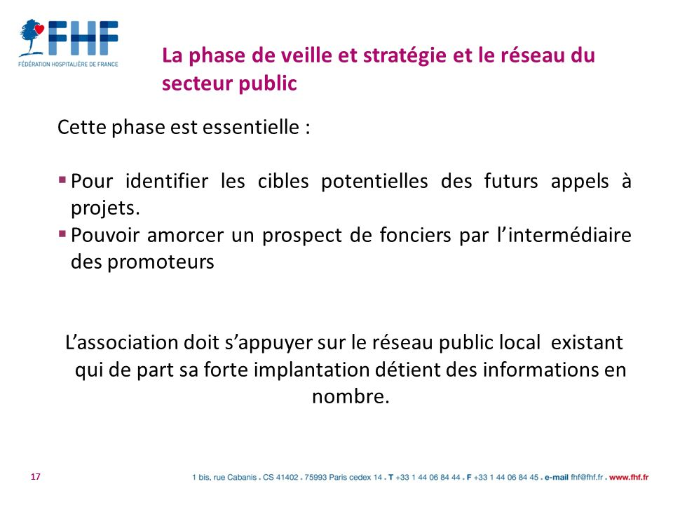 La phase de veille et stratégie et le réseau du secteur public