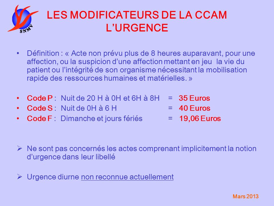 LES MODIFICATEURS DE LA CCAM L'URGENCE