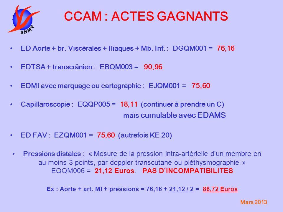 Ex : Aorte + art. MI + pressions = 76,16 + 21,12 / 2 = 86,72 Euros