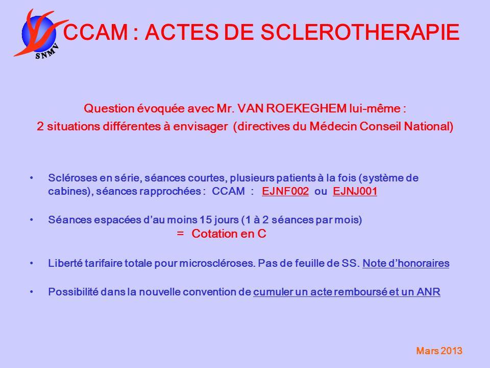CCAM : ACTES DE SCLEROTHERAPIE
