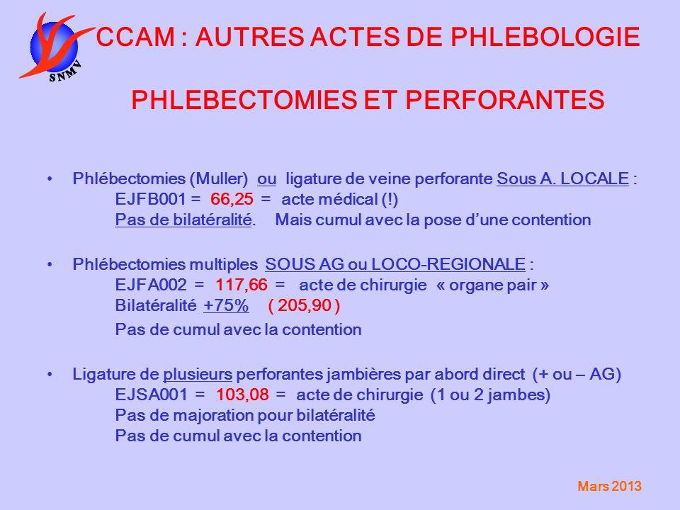 CCAM : AUTRES ACTES DE PHLEBOLOGIE PHLEBECTOMIES ET PERFORANTES